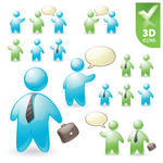 3D People vector icon set