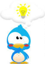 Cute little blue Cartoon bird icon