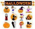 Halloween Glossy Icons Vector