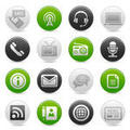 Round green and gray buttons