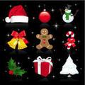 Xmas icons on black background